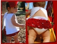 RuffleButts - Bloomer Swiss Dot  with Red Ruffles size 2 left!