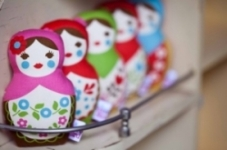 Retrobird -Babushka Doll Rattle in PINK