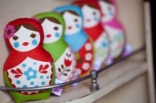 Retrobird -Babushka Doll Rattle in RED