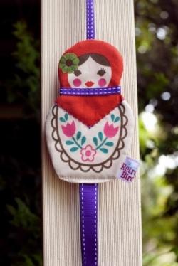 Retro Bird- Babushka Doll Hair Clip Holder - Purple Ribbon