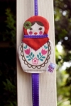 Retro Bird- Babushka Doll Hair Clip Holder - Purple Ribbon