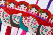 Retro Bird -Babushka Doll Hair Clip Holder - Red Ribbon