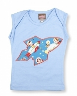 Vintage Kid - Retro Space Singlet in Blue