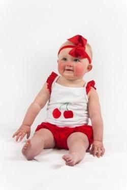 Vintage Kid - Cherry Ruffle Singlet