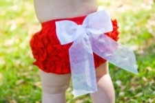 RuffleButts - Bloomer Woven Red Bow