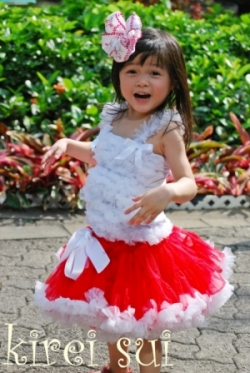 Kireisui - White Ruffles Pettitop from Baby to Age 7 (select your size)