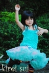 Kireisui - Light Pink with Aqua Blue Pettiskirt and Aqua Ruffles Pettitop Ages1- 7 (select your size)