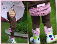 RuffleButts - Chocolate w/Pink Organza stretch pants size 0-6 left!