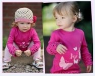 RuffleButts - Fuchsia Butterflies Long Sleeve T
