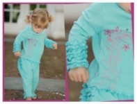 RuffleButts - Aqua Dancing Flowers Long Sleeve T