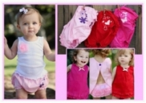 RuffleButts - Bloomer Woven Pink w/Purple Glitter Flowers size 6-12 left!