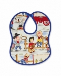 Vintage Kid - Lil Cowpokes Bib with blue binding