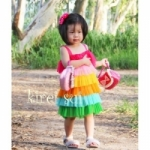 Rainbow Layer Chiffon Dress