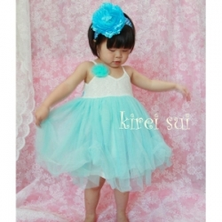 Light Blue Chiffon Lace Party Dress