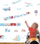 Bosco Bear - Transport Planes, Trains and Automobiles Art wall stickers