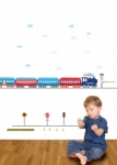Bosco Bear - Transport Blue Train Red Caboose Wall Stickers
