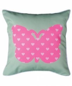 Bosco Bear - Butterflies Heart Cushion 34 x 34cm