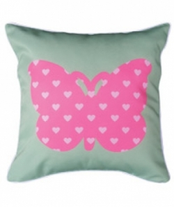 Bosco Bear - Butterflies Heart Cushion 45 x 45cm