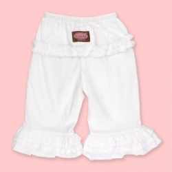 Vintage Kid - White Long Ruffle Pants