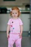 RuffleButts -  T Shirt Pink Embroidered Flowers size 3-6 and 6-12mths left