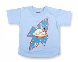 Vintage Kid- Retro Space T Shirt in Light Blue