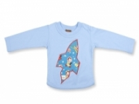 Vintage Kid- Retro Space Long sleeve T Shirt in Light Blue